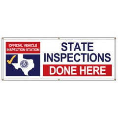 TEXAS OFFICIAL VEHICLE TESTING STATION DONE HERE BANNER