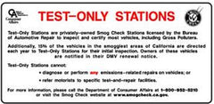 TEST ONLY STATIONS SIGN