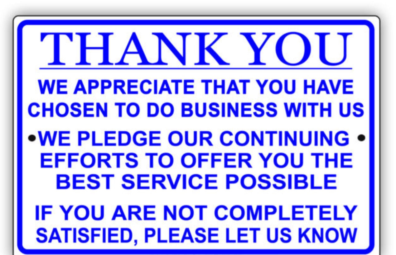 Thank You Customer Business Appreciation Sign
