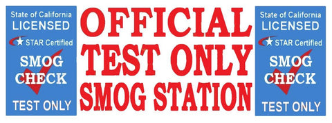 Official Test Only Station | Star Certified Blue Shield | Vinyl Banner
