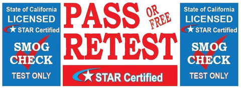 Pass Or Free Retest | TEST ONLY | Star Certified | Blue Shield Version 2 | Vinyl Banner