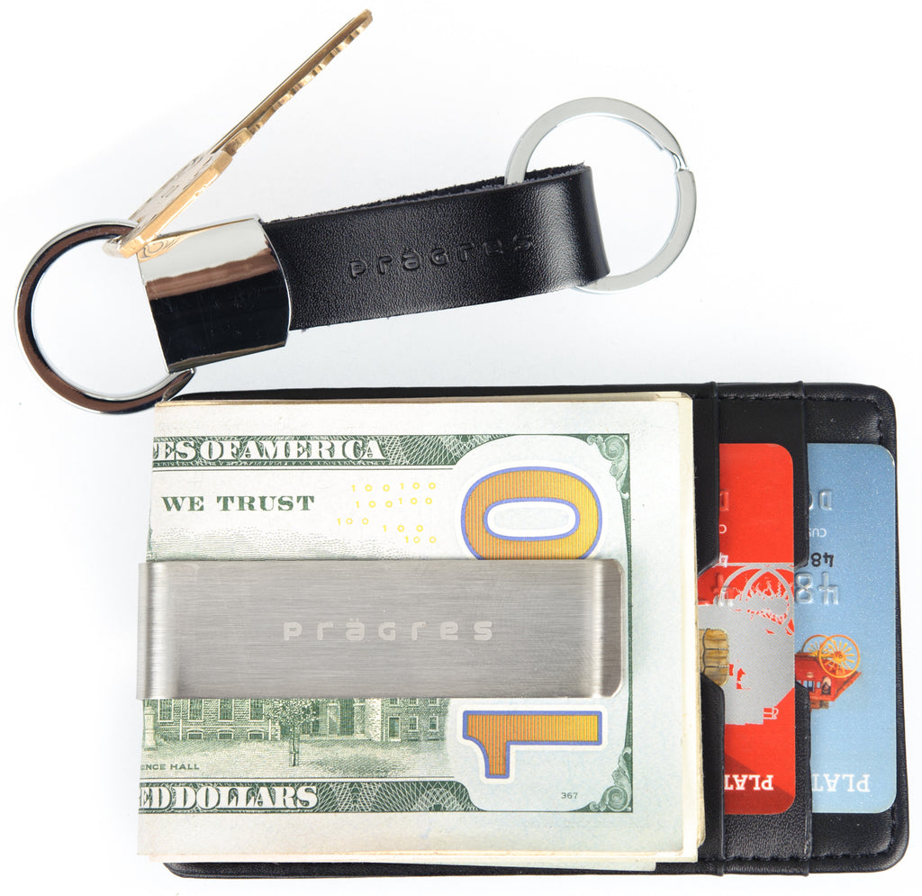 Genuine Leather Money Clip Card Holder with Keychain