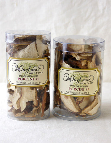 Wine Forest premium dried wild porcini#1 mushrooms in small and large resealable containers