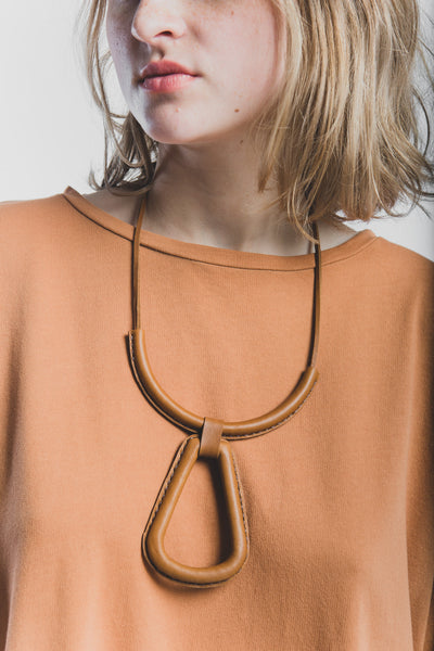Georgia necklace in saddle brown