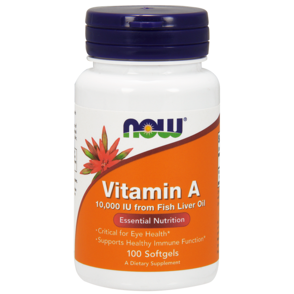 Now Foods Vitamin A 10,000 IUs - 100 Softgels - Health As It Ought to Be
