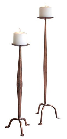 Set Of Two Antique Copper Candle Stands