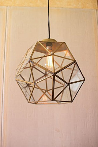 Glass And  Gold Metal Faceted Pendant - Les Spectacles French Industrial