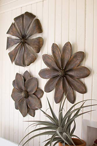 Set Of Three Metal Flower Wall Dã‰Cor