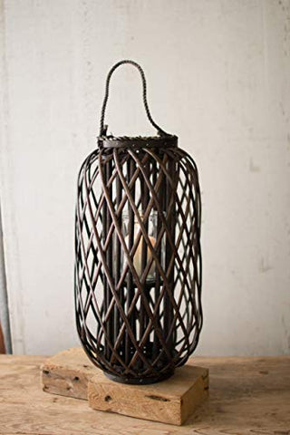 Large Willow Lantern With Glass - Dark Brown - Les Spectacles French Industrial