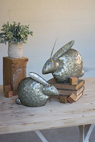 Set Of Two Antique Galvanized Rabbits