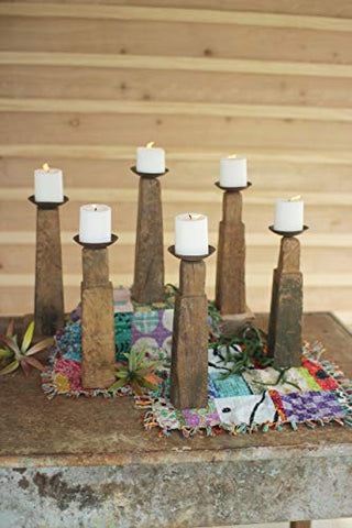 Set Of Six Repurposed Wooden Furniture Leg Candle Holders