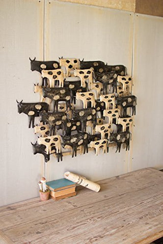 Painted Black & White Cows Recycled Metal Wall Hanging - Les Spectacles French Industrial