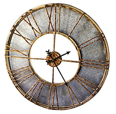 Metal Wall Clock With Roman Numerals - Les Spectacles French Industrial