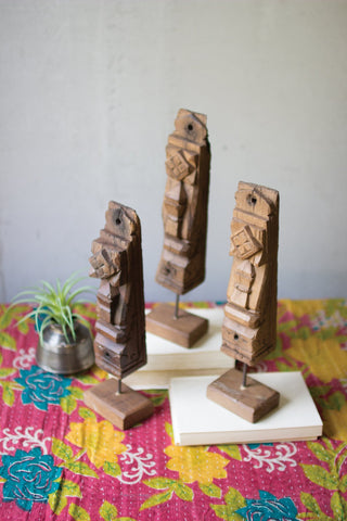 Set Of Three Wooden Architectural Accents On Stands