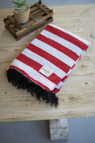 Cotton Throw - Red And White - Les Spectacles French Industrial