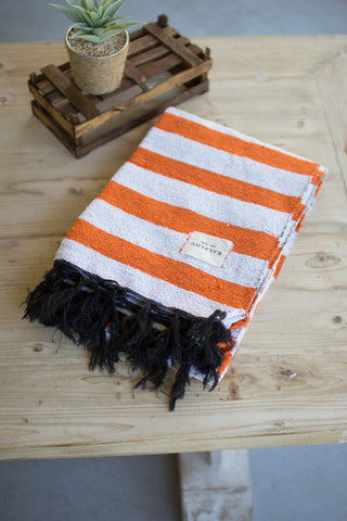 Cotton Throw - Orange And White - Les Spectacles French Industrial