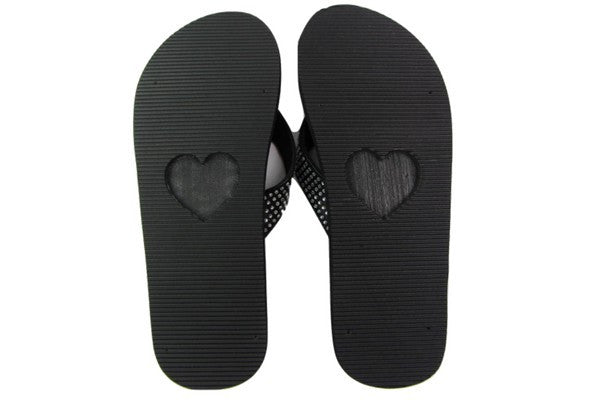 Amor Black Rhinestone Yoga Mat Flip Flops Bottom View