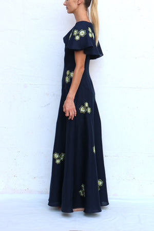 Navy Linen Maxi Dress with White Yellow Flowers Embroidered