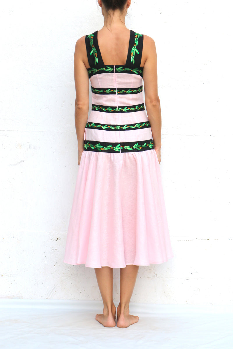 Pink Midi Linen Dress with Black Green Silk Embroidery