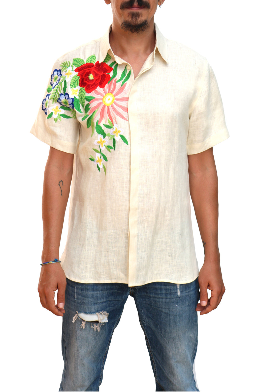 Fanm Mon KREMA Cream Linen Men Shirt Rose Embroidery
