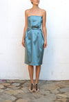 ALBERTA FERRETTI PHILOSOPHY Blue Strapless Evening Dress Size 40
