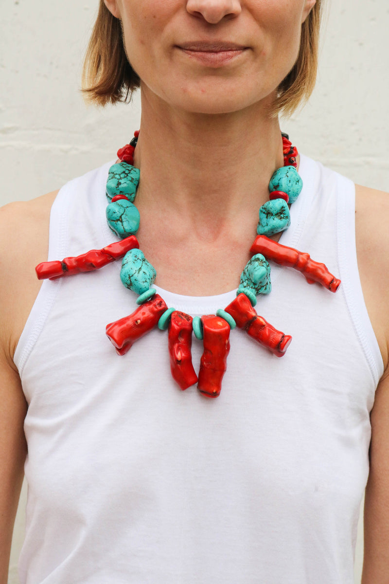 Fanm Mon Handmade Coral Turquoise Beads Resin Jewelry #36