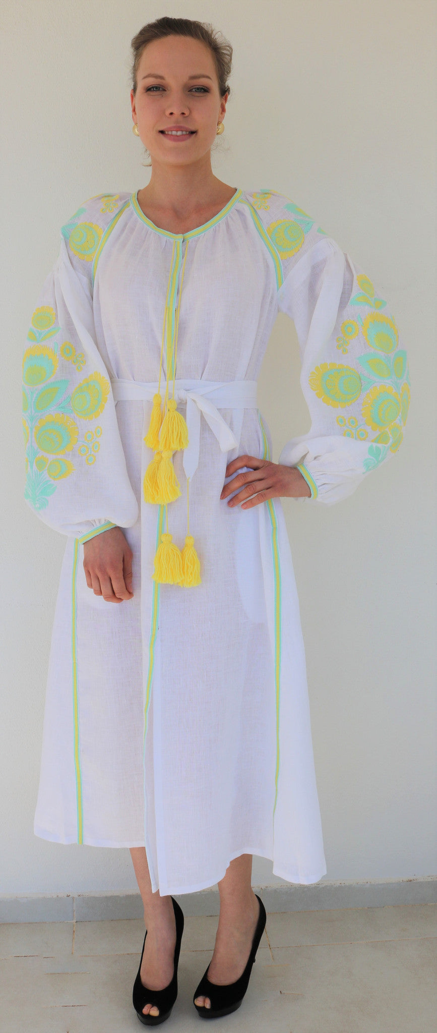 Fanm Mon White Linen Lime Yellow Floral Embroidery Vyshyvanka MIDI Dress Multi Color Embroidery IN STOCK SIZE SMALL MD0112