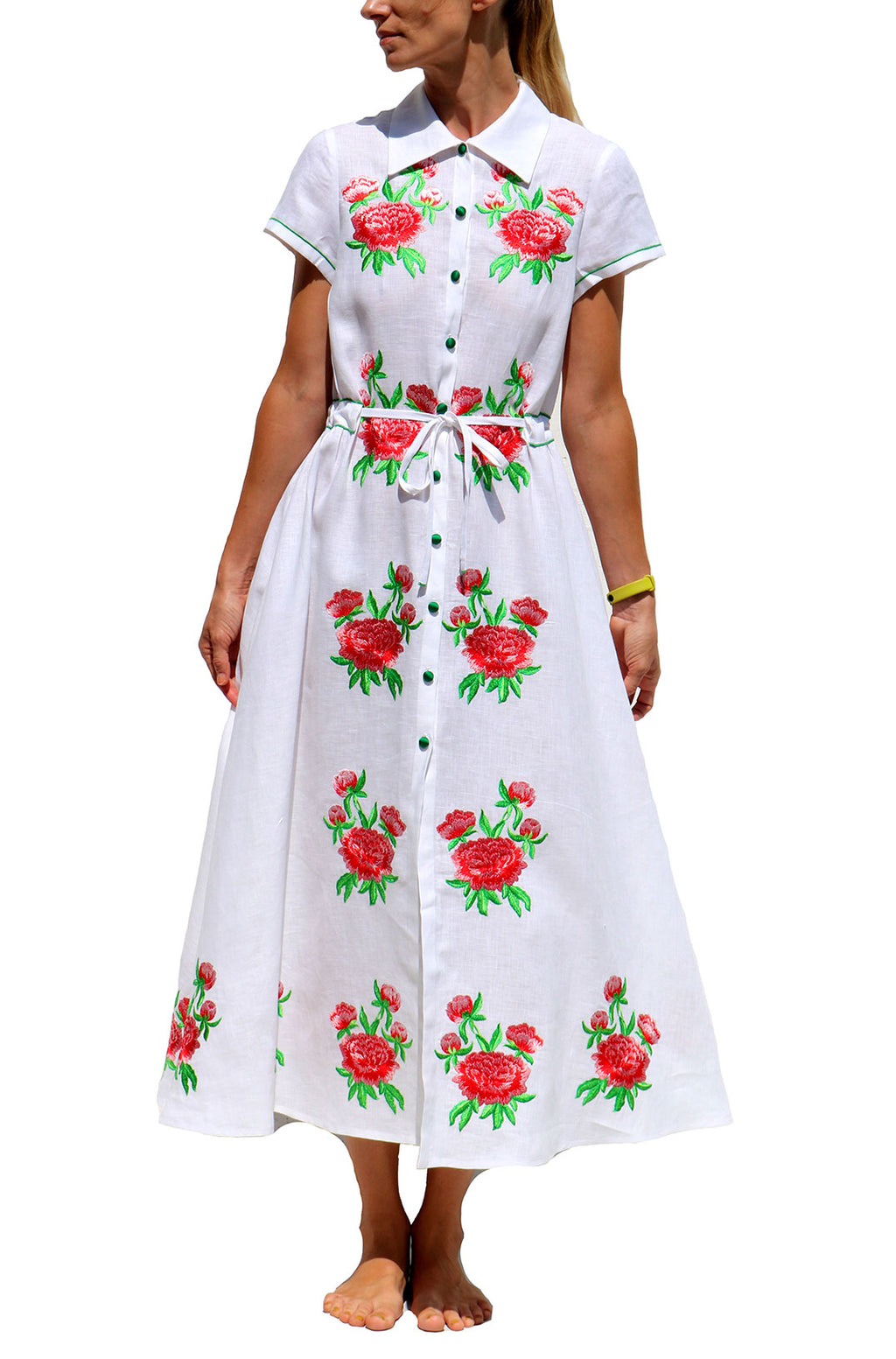 White Linen Dress with Red Flowers Embroidery Button Front Summer Dress