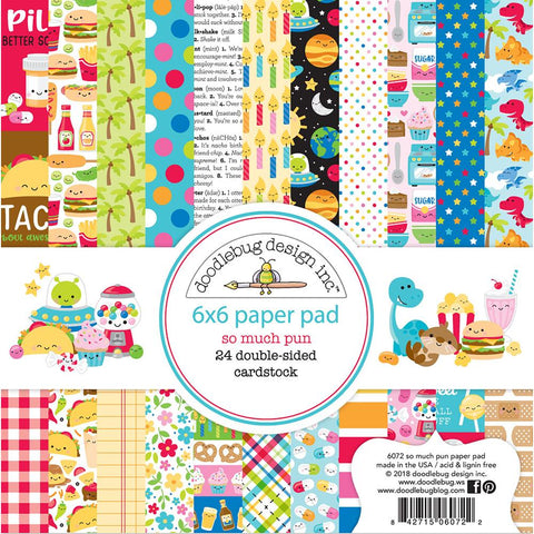 "Doodlebug Double-Sided Paper Pack 6""X6"" - So Much Pun"