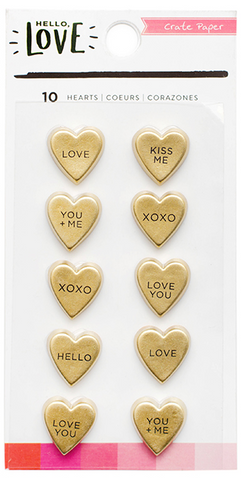 EMBELLISHMENTS - CP - HELLO LOVE - GOLD FOIL - RESIN HEARTS