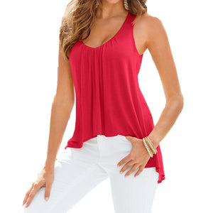 Summer O-Neck Sleeveless Loose Blouse - J20Style - 1