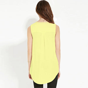Boyfriend 6XL Sleeveless Solid V Neck Chiffon T Shirt