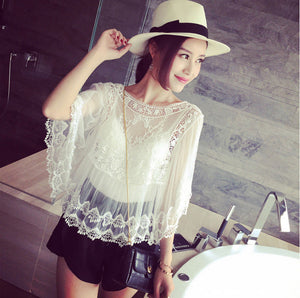 Summer Sheer Floral Embroidery Shirt - J20Style - 5