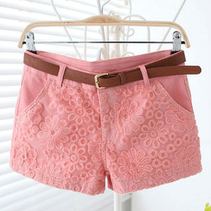 Flower Lace Embroidery Low Waist Short - J20Style - 1