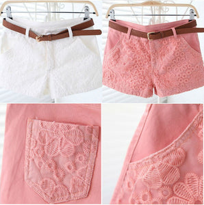 Flower Lace Embroidery Low Waist Short - J20Style - 4