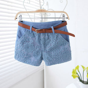 Flower Lace Embroidery Low Waist Short - J20Style - 2