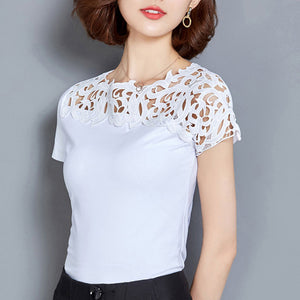 Summer Cotton Short Sleeve Lace Casual Slim  T-Shirt