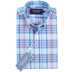 The Windsor Button Down Shirt Navy/Pink/Teal/Yellow - Collared Greens