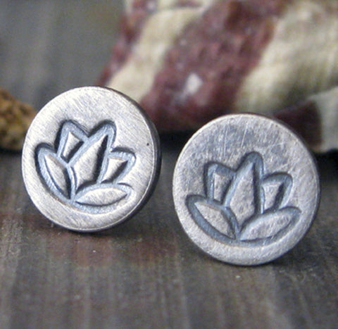 Lotus sterling silver oxidized and brushed stud earrings
