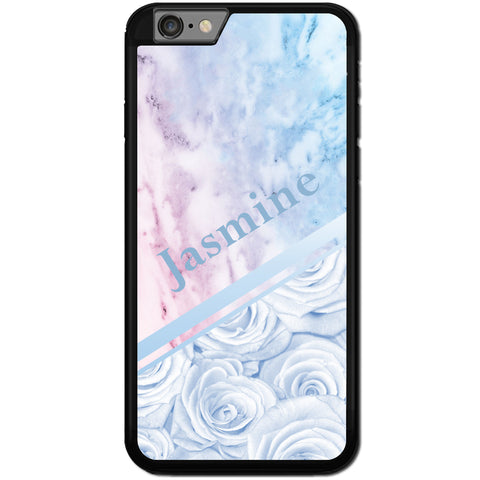 Fits Apple iPhone 6 & 6S - PERSONALISED Rose Marble Name Case Phone Cover Y01542