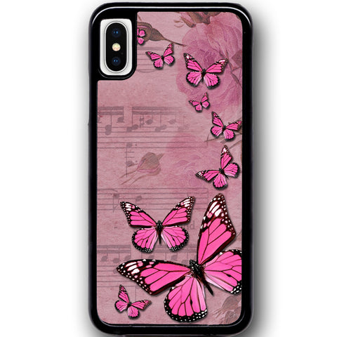Fits Apple iPhone X - Butterfly Music Case Phone Cover Y01088