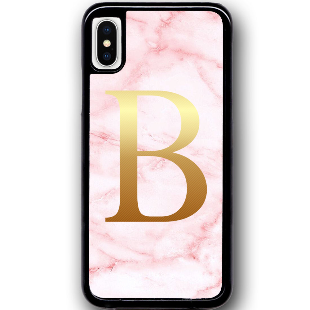 Fits Apple iPhone X - PERSONALISED Initial Pink Marble Case Phone Cover Y01527