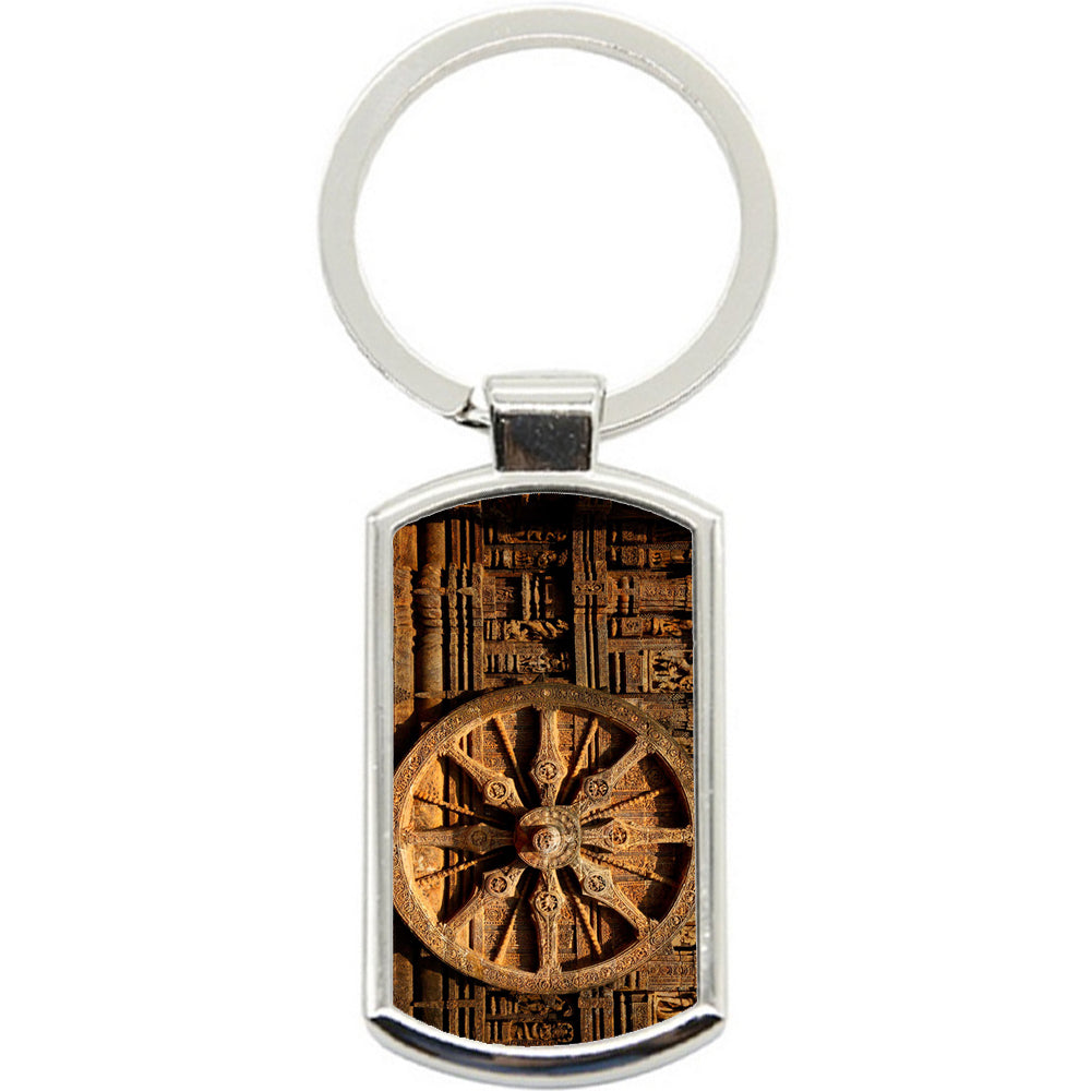 KeyRing Stainless Steel Key Chain Ring - Dharma Wheel Y00045