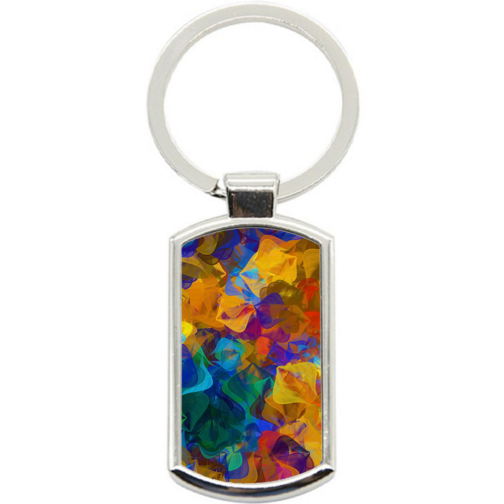 KeyRing Stainless Steel Key Chain Ring - Abstract Art Y00285
