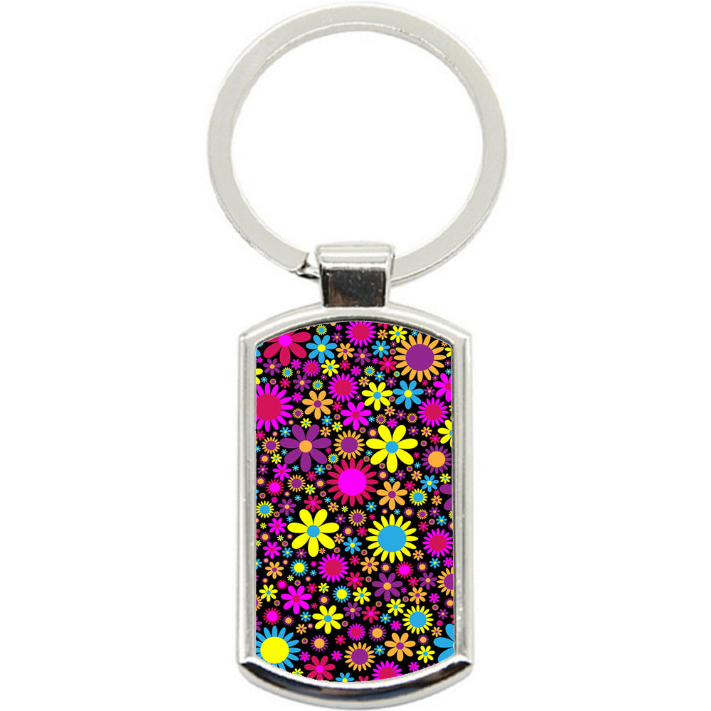 KeyRing Stainless Steel Key Chain Ring - Hippy Flowers Y00357