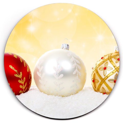 Set of 6 HD SuperClear Drink Coaster Xmas Balls Y00480