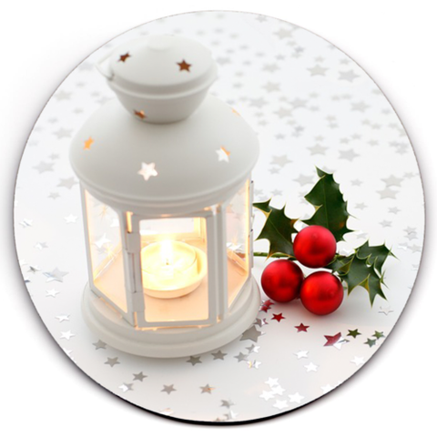 Set of 6 HD SuperClear Drink Coaster Christmas Candle Y01226