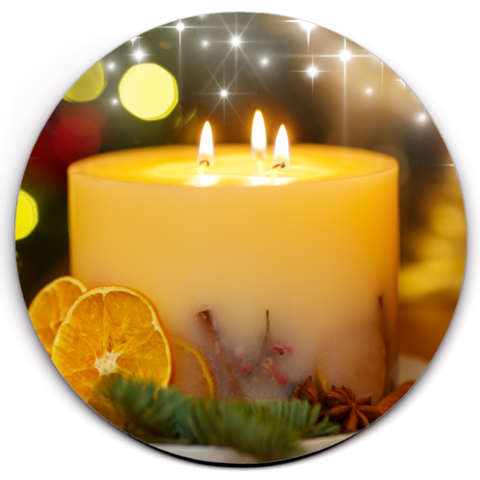 Set of 4 HD SuperClear Drink Coaster Xmas Candle Y01227