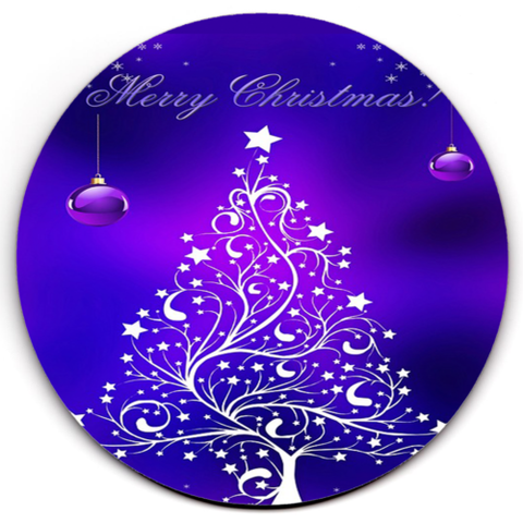 Set of 6 HD SuperClear Drink Coaster Purple Xmas Y00482