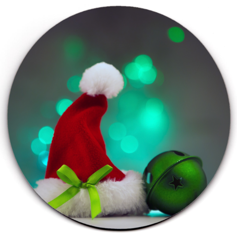 Set of 4 HD SuperClear Drink Coaster Xmas Hat Bell Y00488